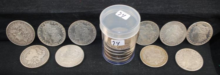 ROLL OF 20 VF/XF MORGAN DOLLARS FROM SAFE DEPOSIT