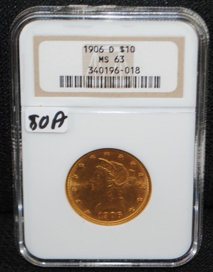 SCARCE 1906-D $10 LIBERTY GOLD COIN - NGC MS63