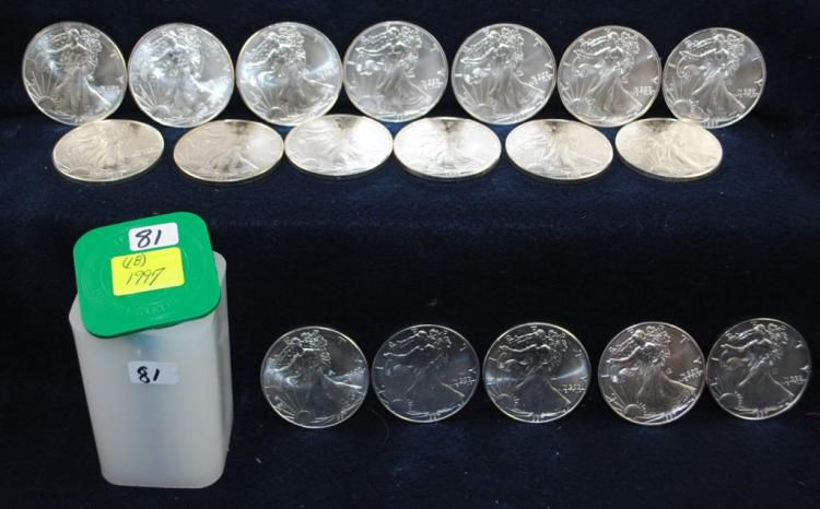 18 SCARCE 1997 1 OZ GEM BU AMERICAN SILVER EAGLES