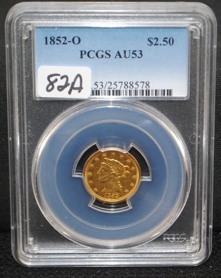 SCARCE 1852-0 $2 1/2 LIBERTY GOLD - PCGS AU53