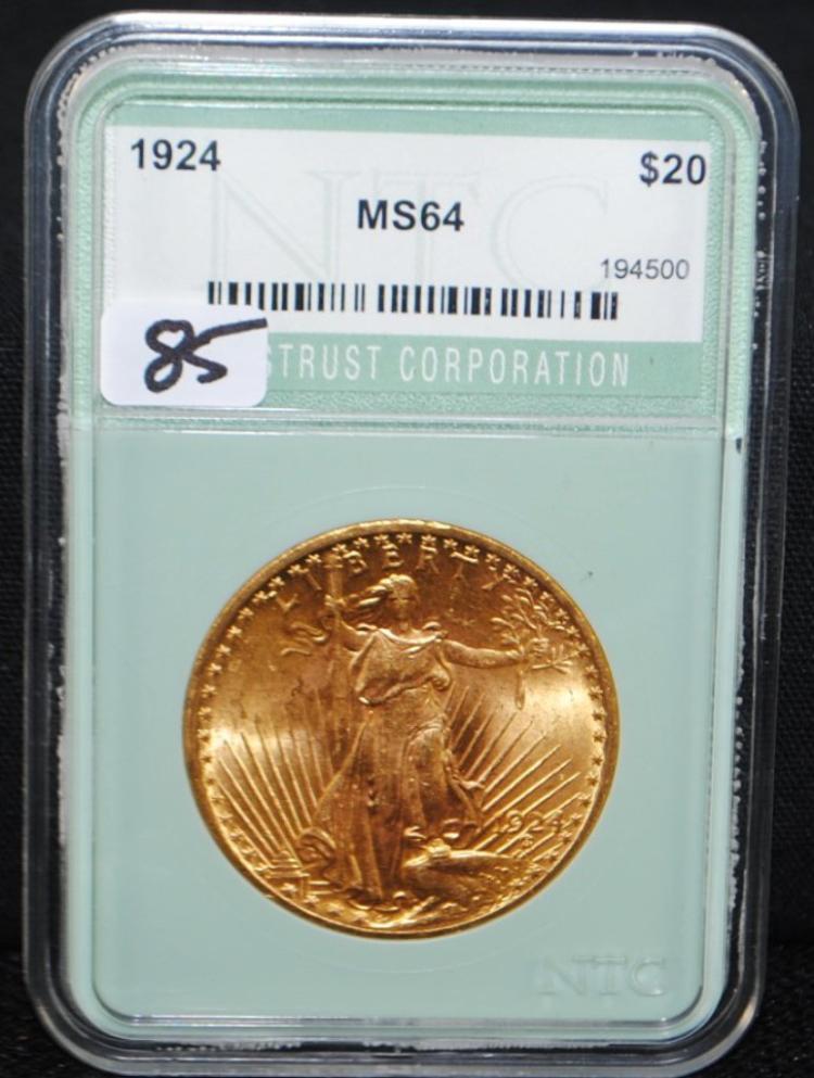 SCARCE 1924 $20 ST. GAUDENS GOLD COIN
