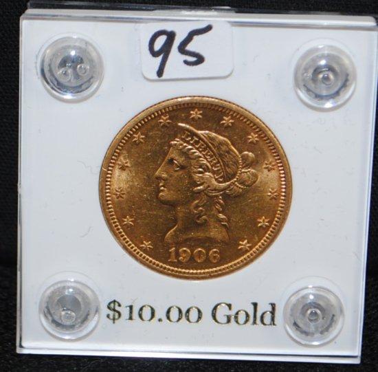 SCARCE 1906-D AU58 $10 LIBERTY GOLD COIN