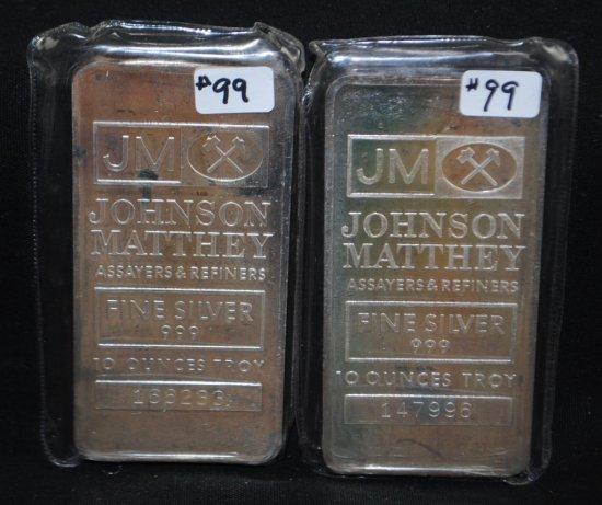 2 JOHNSON/MATTHEY 10 TROY OZ FINE SILVER INGOTS