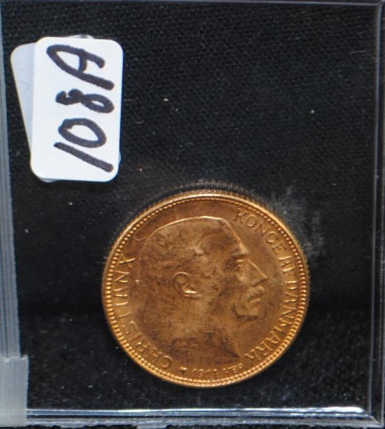 1914 DENMARK CHOICE UNC 20 KRONER GOLD COIN