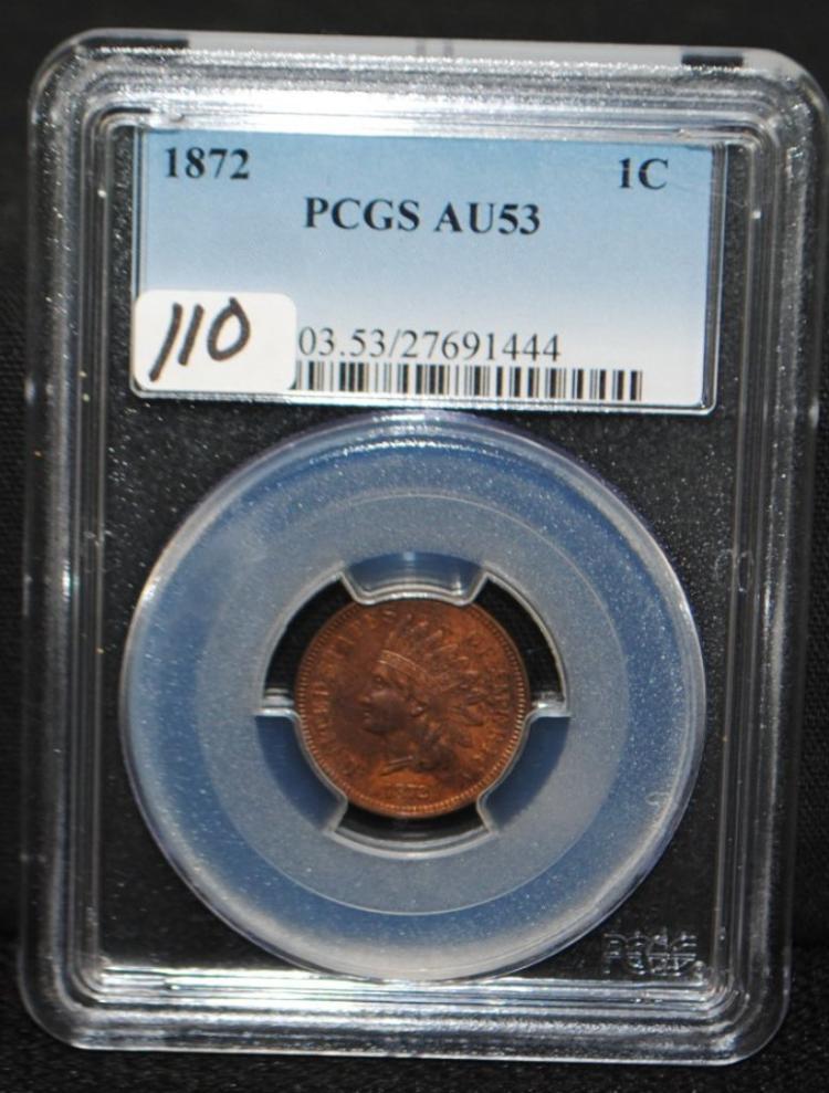 SCARCE 1872 INDIAN HEAD CENT - PCGS AU53