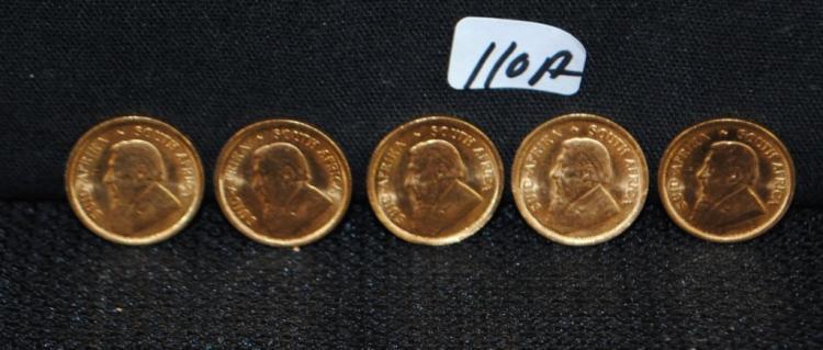 FIVE 1983 KRUGERRANDS 1/10 OZ FINE GOLD COINS