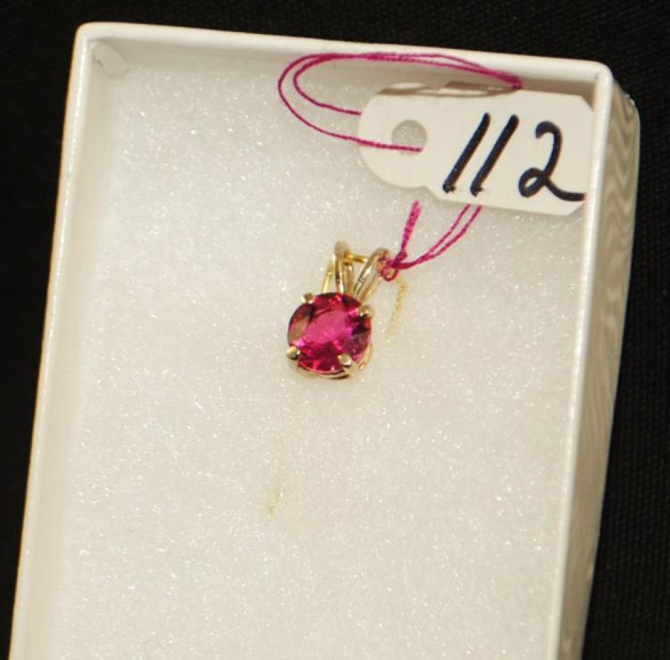 LADIES 14K WHITE GOLD PINK TOURMALINE PENDANT