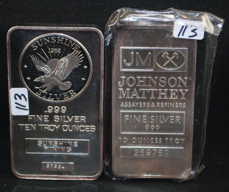 TWO 10 TROY OZ .999 FINE SILVER INGOTS