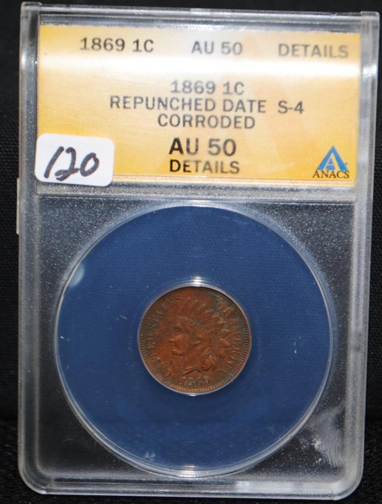 1869/9 INDIAN HEAD CENT - ANACS AU50 DETAILS