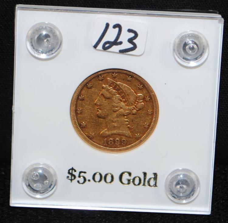 1899-S $5 LIBERTY GOLD COIN FROM SAFE DEPOSIT