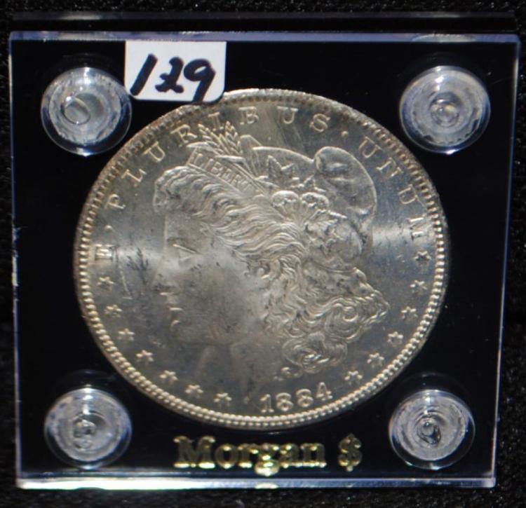 1884-CC GEM BU MORGAN DOLLAR FROM SAFE DEPOSIT