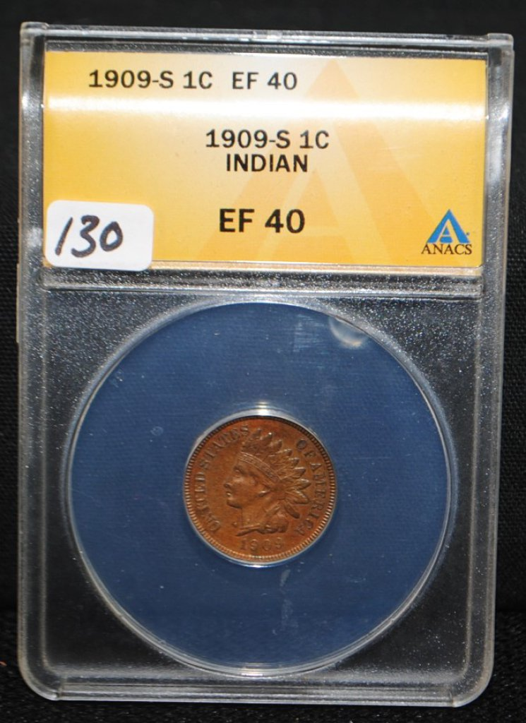 SCARCE 1909-S INDIAN HEAD CENT - ANACS EF40