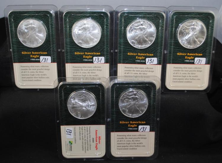 SIX 2000 $1 AMERICAN SILVER EAGLES IN PLASTIC