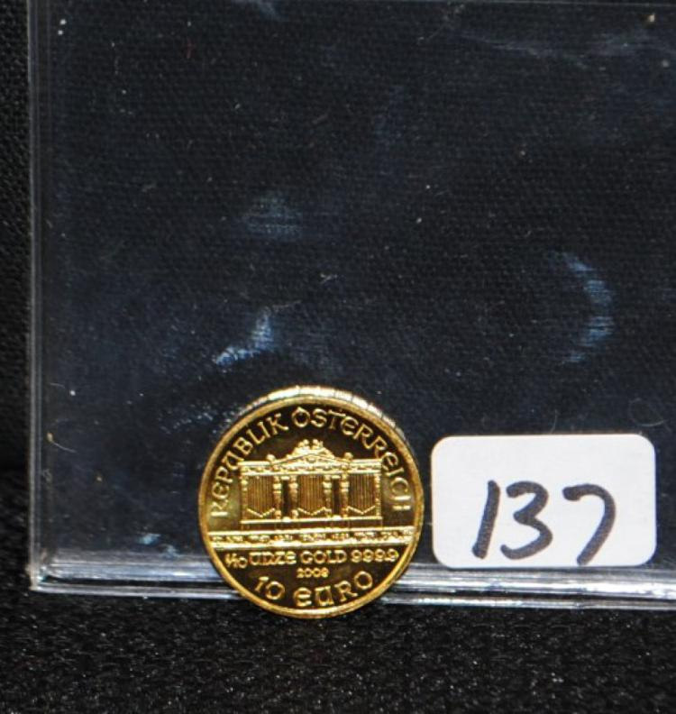 2009 10 EURO 1/10TH AUSTRIA PHILHARMONIC GOLD COIN