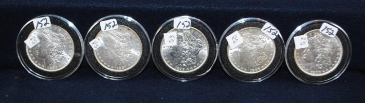 FIVE HIGH GRADE MORGAN DOLLARS FROM SAFE DEPOSIT