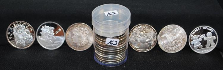 ROLL OF 20 ONE OZ .999 FINE SILVER ROUND COINS