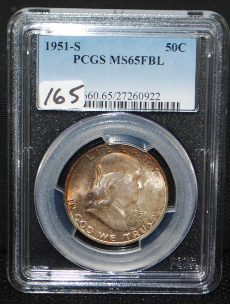 SCARCE 1951-S FRANKLIN HALF DOLLAR - PCGS MS65FBL