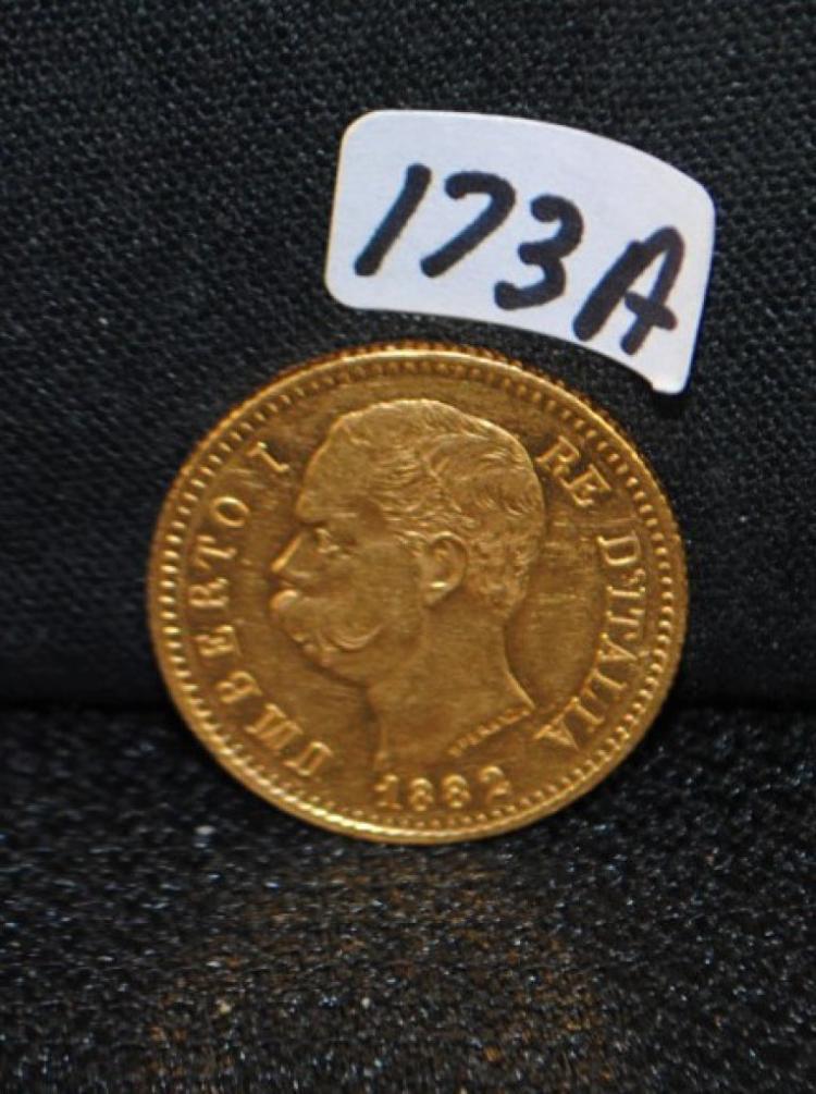 1882 ITALIAN CHOICE UNC 20 LIRA GOLD COIN