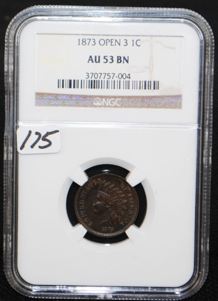 SCARCE 1873 (OPEN 3) INDIAN CENT - NGC AU53BN