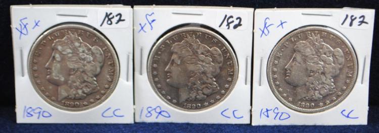 3 KEY 1890-CC XF MORGAN DOLLARS FROM SAFE DEPOSIT