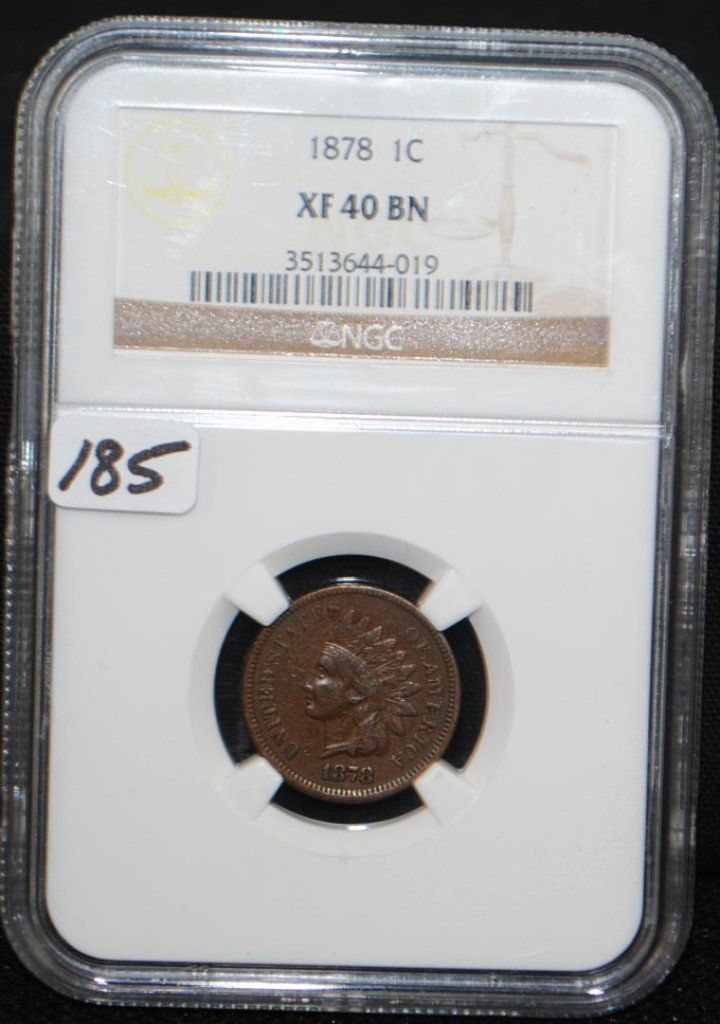 SCARCE 1878 INDIAN HEAD CENT - NGC XF40BN
