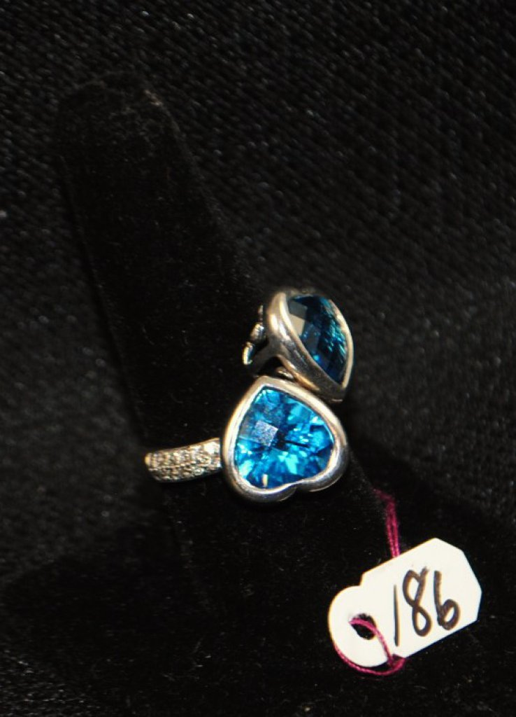 LADIES 18K CUSTOM-MADE LONDON BLUE TOPAZ RING