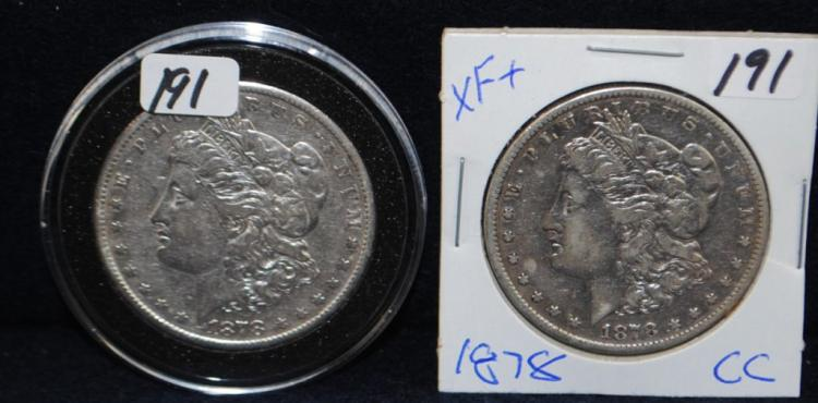 TWO KEY 1878-CC XF MORGAN DOLLARS