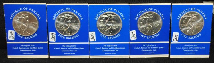 5 PANAMA FIVE BALBOAS 1970 COMMEMORATIVE COINS