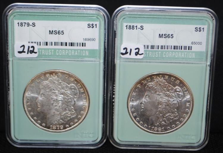 1879-S &1881-S MORGAN DOLLARS FROM SAFE DEPOSIT