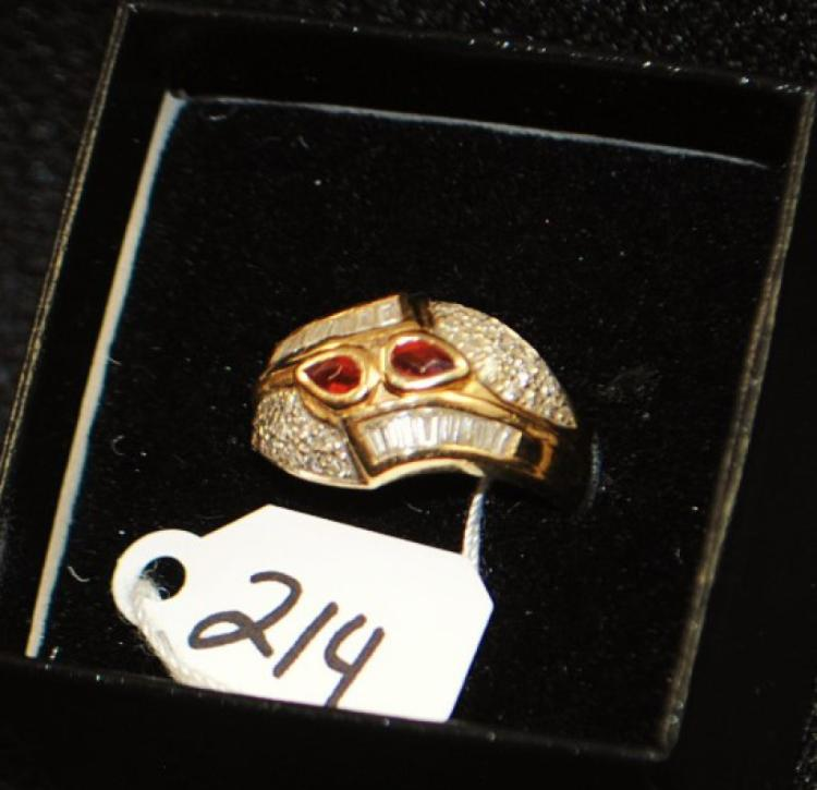 LADIES 14K YELLOW GOLD GARNET & DIAMOND RING