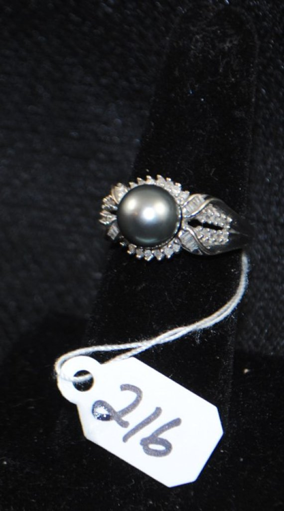 LADIES 14K WHITE GOLD TAHITIAN PEARL FASHION RING