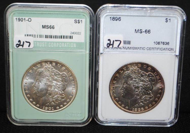 1896 & 1901-0 MORGAN DOLLARS FROM SAFE DEPOSIT