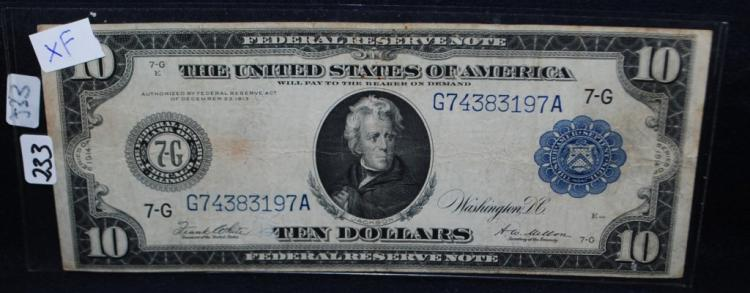 $10 EX FEDERAL RESERVE NOTE - SERIES 1914 LG SIZE