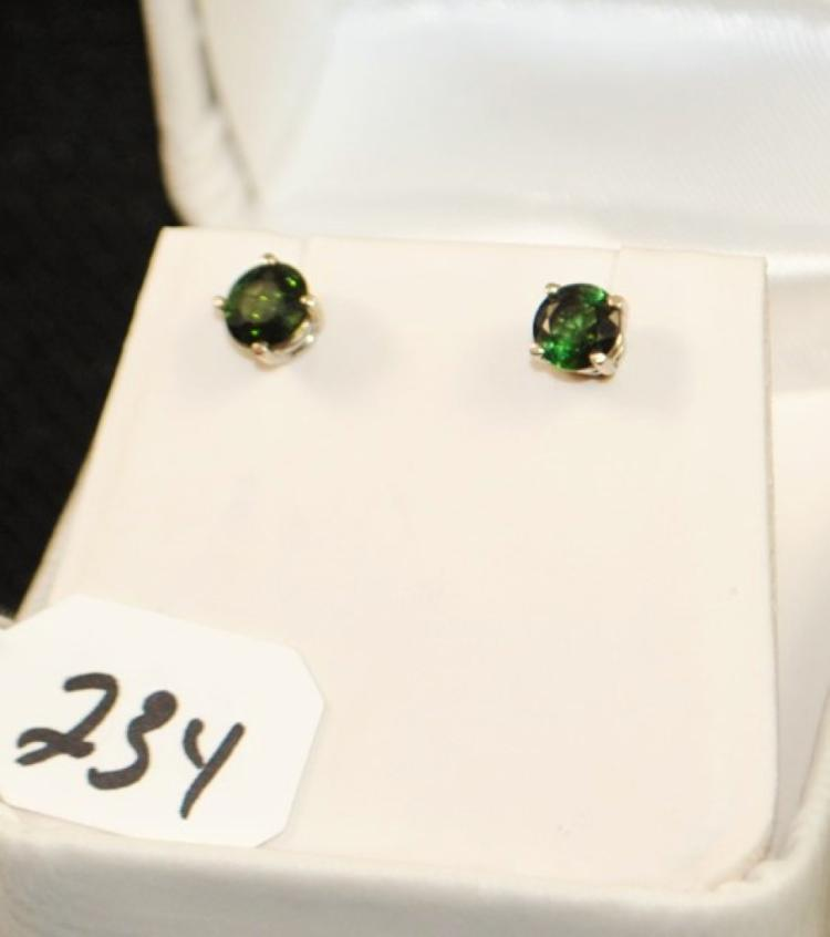 LADIES 14K WHITE GOLD TOURMALINE FASHION EARRINGS