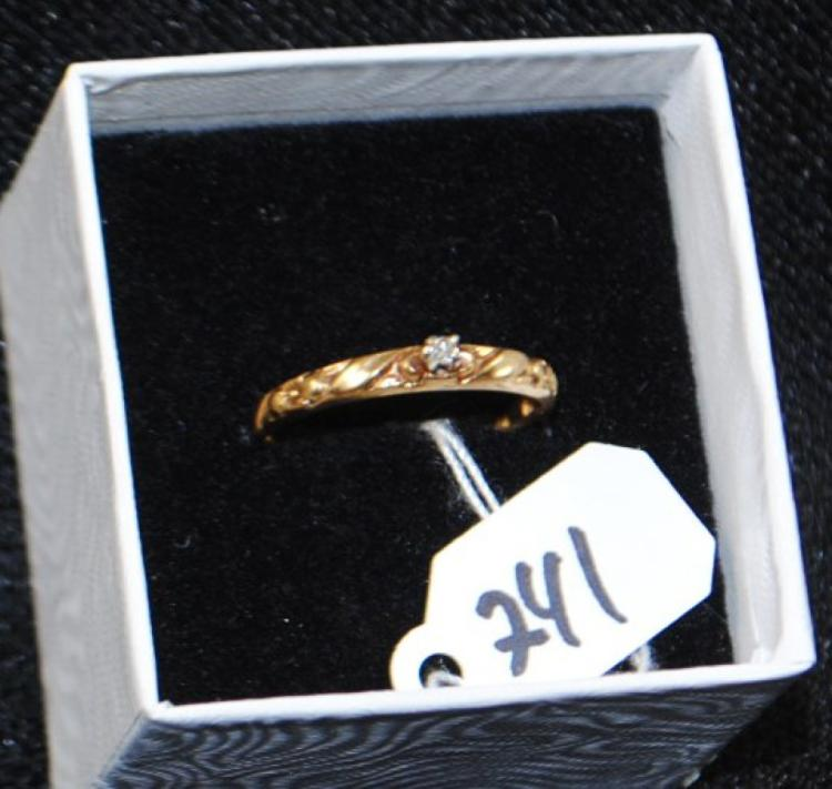 LADIES VINTAGE 10K YELLOW GOLD DIAMOND RING