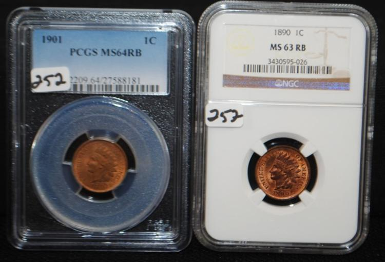 1890 INDIAN CENT MS63RB - 1901 INDIAN CENT MS64RB