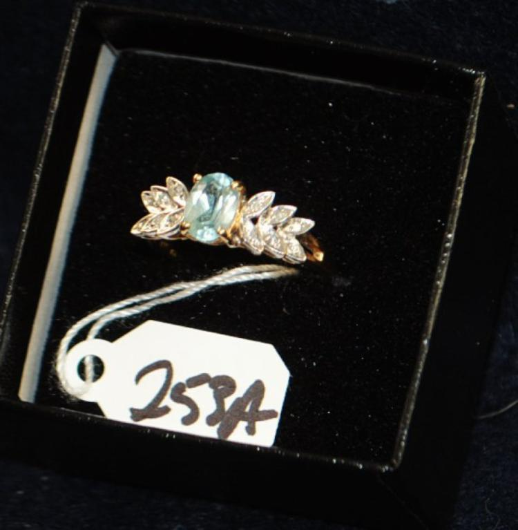 LADIES 14K (STAMPED) YELLOW GOLD DIAMOND AND AQUAMARINE FASHION RING. THE RING IS PRONG SET WITH (12) 1.0MM ROUND SINGLE CUT DIAMONDS FOR A TOTAL CARAT WEIGHT OF .05CTTW. ALL DIAMONDS HAVE A MINIMUM COLOR GRADE OF I AND CLARITY GRADE OF I1. THE CENTER OF THE RING IS PRONG SET WITH (1) 7X5MM OVAL AQUAMARINE WEIGHING APPROX. 1.00CT. THE AQUAMARINE IS SINGLE A QUALITY. ALL GEMSTONES WERE GRADED WHILE SET IN THE MOUNTING AND CARAT WEIGHT WERE CALCULATED BY FORMUAL. TOTAL METAL WEIGHT WITH GEMSTONES: 2.9 GRAMS. THE TOTAL RETAIL REPLACEMENT VALUE: $800.00. AND COMES WITH THE APPRAISAL FOR INSURANCE PURPOSES.