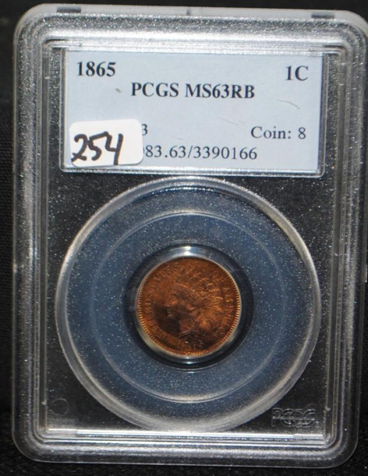 SCARCE 1865 INDIAN HEAD CENT - PCGS MS63RB