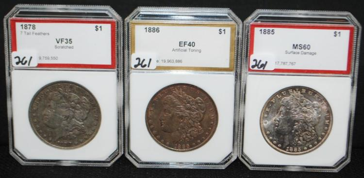 1878/7TF, 1885 & 1886 MORGAN DOLLARS