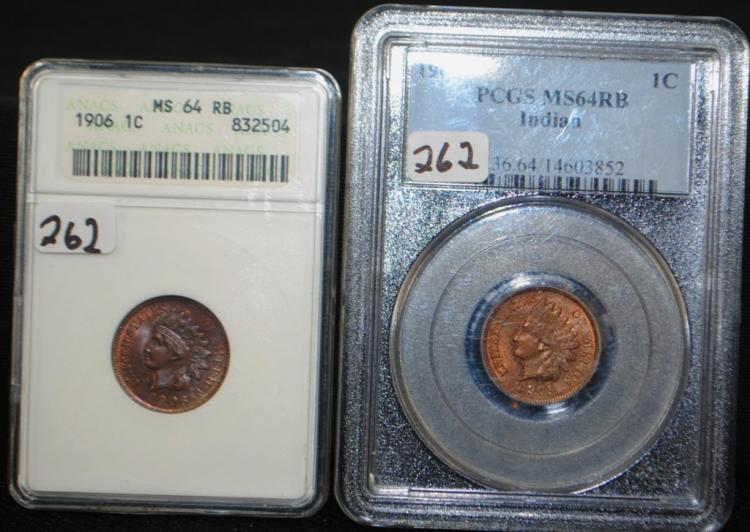 1906 INDIAN CENT MS64RB & 1909 INDIAN CENT MS64RB