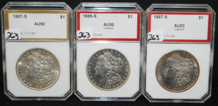 TWO 1887-S & ONE 1889-S MORGAN DOLLARS