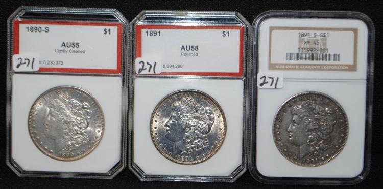 1890-S, 1891 & 1891-S NGC XF45 MORGAN DOLLARS