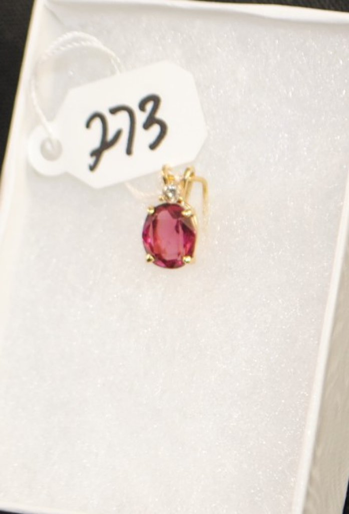 LADIES 14K GENUINE RHODOLITE GARNET PENDANT