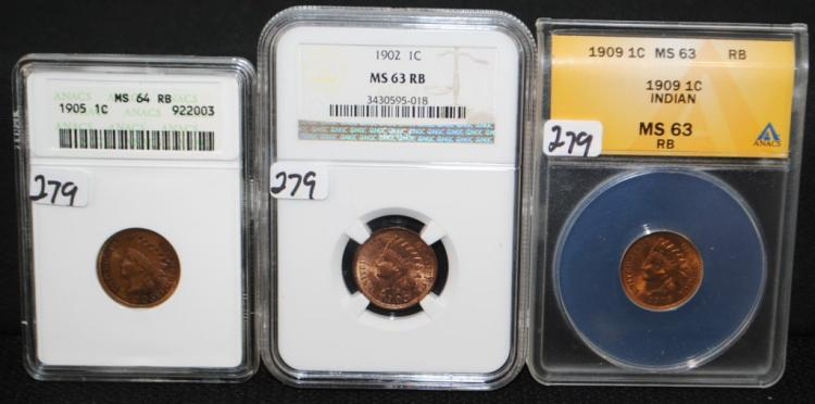 1902, 1905 & 1909 INDIAN CENTS
