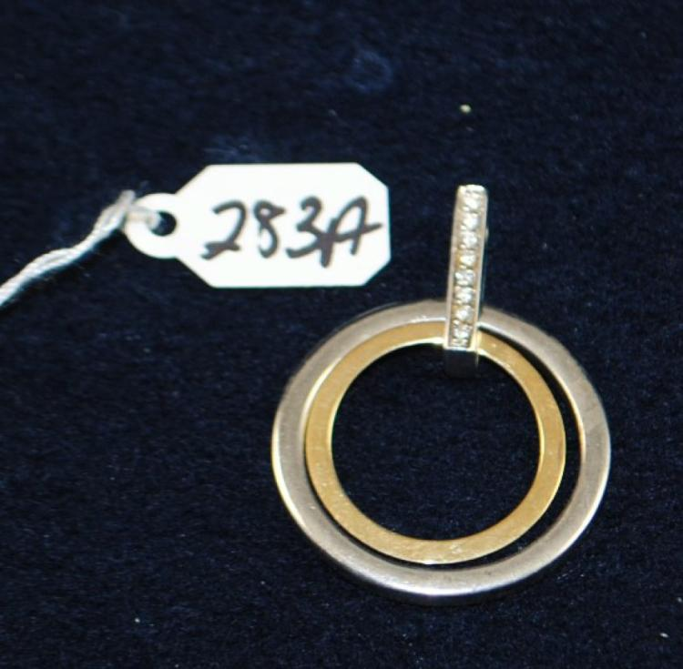 LADIES 14K (STAMPED) YELLOW AND WHITE GOLD DIAMOND PENDANT. THE PENDANT IS PRONG SET WITH (8) 1.0-1.1MM FULL ROUND CUT DIAMONDS FOR A TOTAL CARAT WEIGHT OF .05CTTW. ALL DIAMONDS HAVE A MINIMUM COLOR GRADE OF I AND CLARITY GRADE OF I1. ALL GEMSTONES WERE GRADED WHILE SET IN THE MOUNTING AND CARAT WEIGHTS WERE CALCULATED BY FORMULA. TOTAL METAL WEIGHT WITH GEMSTONES: 7.8 GRAMS. THE TOTAL RETAIL REPLACEMENT VALUE: $1,000.00. AND COMES WITH THE APPRAISAL FOR INSURANCE PURPOSES.