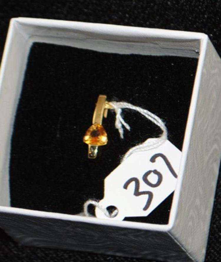 LADIES 14K YELLOW GOLD CITRINE PENDANT