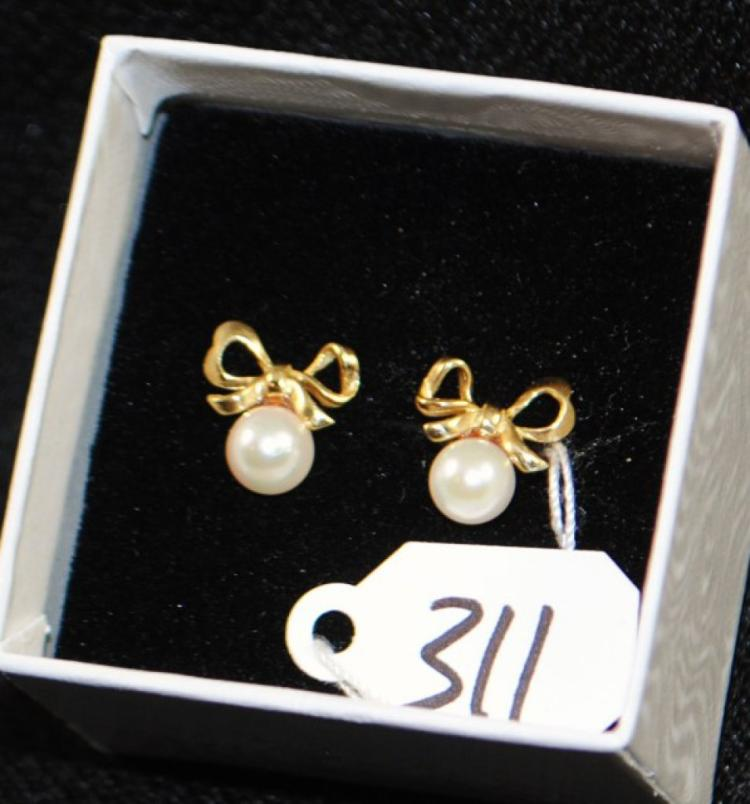 LADIES 14K YELLOW GOLD CULTUREC PEARL EARRINGS