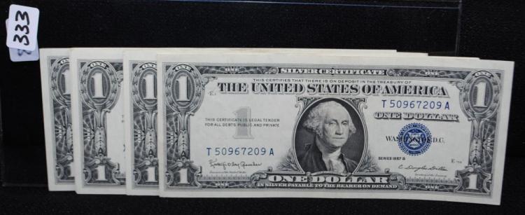 15 $1 SILVER CERTIFICATES CONSECUTIVE SERIAL #''S
