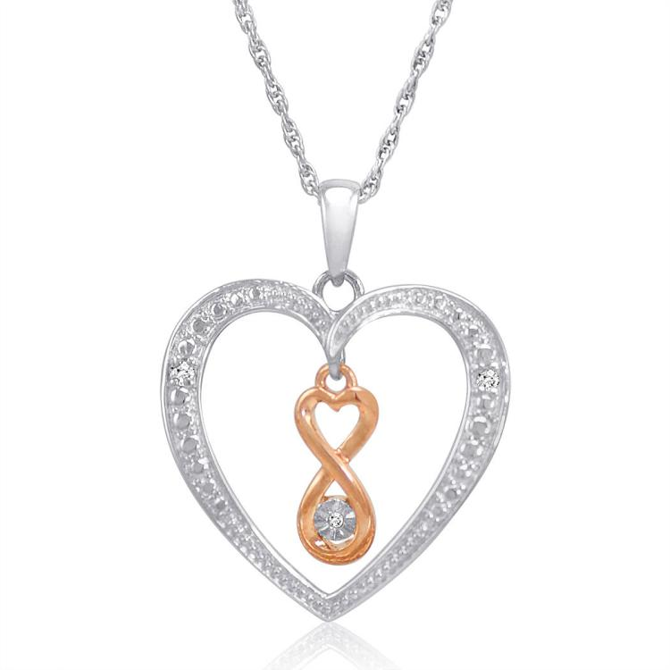 DIAMOND INFINITY IN HEART PENDANT NECKLACE IN .925 STERLING SILVER