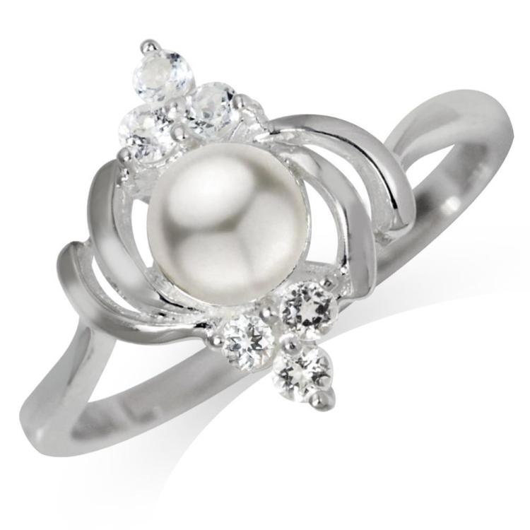CULTURED WHITE PEARL & WHITE TOPAZ .925 STERLING SILVER RING